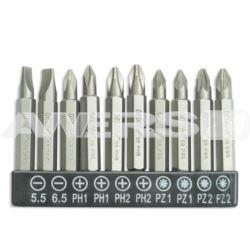 Zestaw bitów 10szt,50mm SL5.5,6.5,PH1/2-2szt Dedra